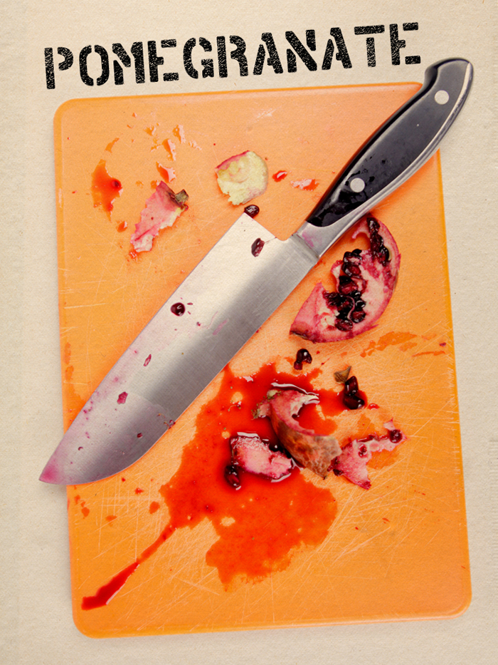 Illustration of pomegranite with a knife on a cutting board by Richard Koci Hernandez