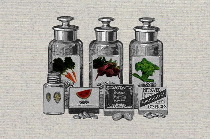 Illustration of old pill bottles with veggies on them