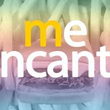 "A poster of fries and a burger and the McDonald's slogan ""me encanta"" Illustration by Diana Jou"