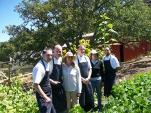 The restaurant's cooks standing in the garden. Photo by Karen Mann